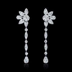 1.56ct Diamond 18k White Gold Dangle Earrings