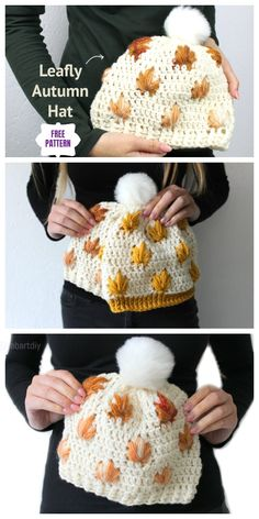 Crochet Leaf Stitch Beanie Hat Free Crochet Patterns - Video Crochet Leaf Patterns, Hat Patterns, Crochet Beanie Pattern, Crochet Leaves, Loom Knit Hat, Knitted Hats, Crochet Hats, Knit Crochet, Crochet Clothes