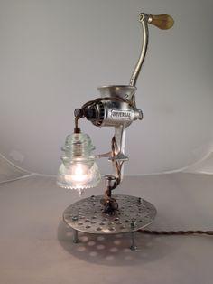 """""""Chrome Love"""" Meat Grinder Lamp from Carvel Vintage https://www.facebook.com/carvelvintage/"""