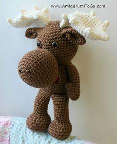 Muddy the Moose, #crochet, free pattern, amigurumi, stuffed toy, X-mas, Christmas, #haken, gratis patroon (Engels), rendier, Kerstmis, knuffel, speelgoed, #haakpatroon