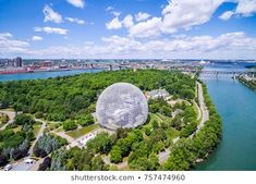 Montreal, Canada - July Aerial view of Montreal cityscape including the Biosphere geodesic dome and Jacques Cartier bridge in Montreal, Quebec, Canada. Cheapest Places To Live, Best Places To Live, Wonderful Places, Best Bagels In Montreal, Of Montreal, Canada, Lake George, Quebec City, London City