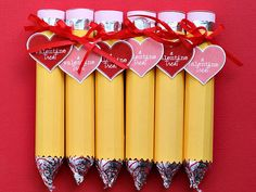 "I think that I may make these ""pencils"" for David's class party! 12 Unique Valentines You Can Make"