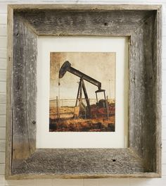 Texas Pumpjack Framed Photo 8x10 Rustic Grunge Urban Decay Barnwood Gray Weathered Oil Well Oil Field Shabby Wall Art by SusanGottbergPhotos on Etsy