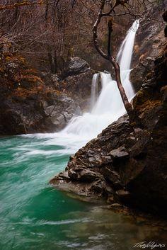 Waterfall In Winter by Paris Koligiotis