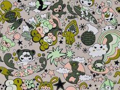 CAC0068- 100% Cotton Fabric: All-Over Hawaiian Print Fabric