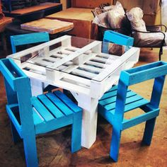 Create an Entire Dining Set from Recycled Pallets | Brit + Co.  For more pallet ideas visit http://www.artisticscrapdesigns.com/10-upcycling-wooden-crate-ideas-we-love/