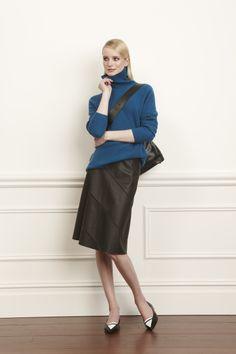 1) Bluemarine Cashmere Turtleneck 2) Black Leather Seamed A Line Skirt 3) Black Circle Leather Sophia Tote #worthnewyork #fall2014