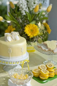 I Heart Pears: Aqua and Yellow Elegant Baby Shower