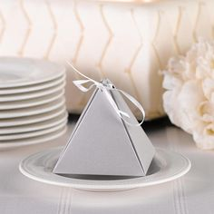 Favor Boxes / Pyramid Favor Box Silver Shimmer with Ribbon /