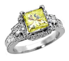 2.0ct Canary Yellow Princess Diamond Engagement Ring in 18k White ...