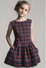"""Платье """"Цветы на поясе"""" для девочки 28626-246 синий Noble People"""
