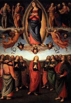 Perugino, Assunta dell'annunziata 01 - Polittico dell'Annunziata -Polittico dell'Annunziata (Deposizione dalla croce e Assunta nei pannelli principali) è un dipinto a olio su tavola (334x225 cm il pannello centrale) avviato da Filippino Lippi e completato, dopo la sua morte, da Pietro Perugino, datato 1504-1507 e conservato nella Galleria dell'Accademia a Firenze (Deposizione dalla croce) e nella basilica della Santissima Annunziata (Assunta
