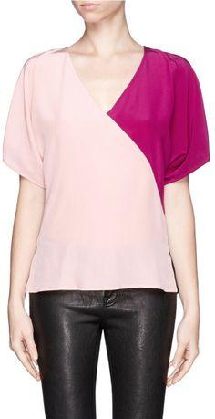 Emilio Pucci Colourblock Silk Crepe Top in Multicolor (Pink,Multi-colour) - Lyst