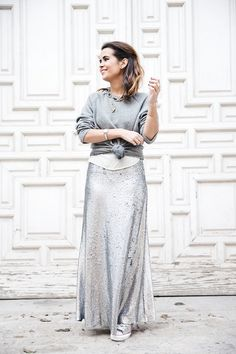 Sequined Maxi Skirt / Collage Vintage