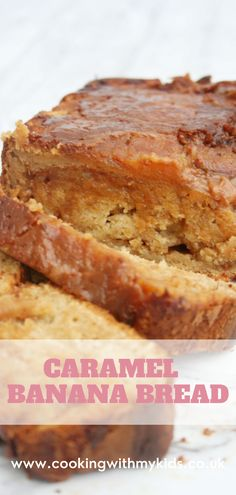 Caramel banana bread is a delicious twist on regular banana bread, with some beautiful Carnation caramel swirled through it. #banana bread #caramel #carnation #easy recipe #loaf #easy #baking #baking with kids #kids baking #recipe