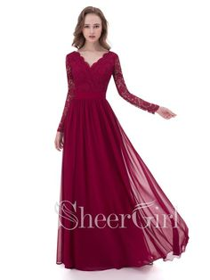 A-line V-neck Lace Bodice Long Sleeves Cheap Simple Prom Dresses APD3051