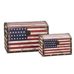 Household Essentials American Flag 2-pc. Storage Trunk Set - Jumbo/Medium, Med Red