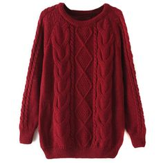Burgundy Cable Long Sleeve Chunky Knit Sweater (105 PEN) ❤ liked on Polyvore featuring tops, sweaters, burgundy top, cable sweaters, cable knit sweater, red top and chunky cable knit sweaters