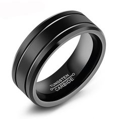 Customed Engraved Letter Tungsten Men Rings With Inner Polished Design 8MM Width Accessory Band Gift For Men And Boy Black #Affiliate
