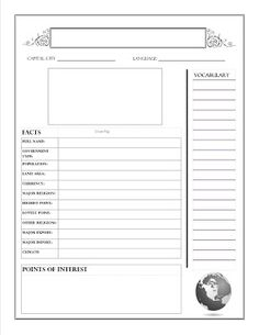 New 2 Homeschooling: Free Geography Country Report Printable - 2 pages Second page has a large world map to color and sections to write down important points in history and current events. Country Report, Professional Presentation Templates, Education World, School Worksheets, Report Template, Summer School, Geography, Lesson Plans, Unit Studies