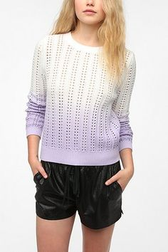 Sparkle & Fade Dip Dye Open Stitch Pullover Sweater