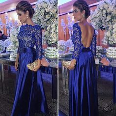 2018 Honorable Royal Blue A-Line Mother Of The Bride Dresses Long Sleeve Backless Lace Sequins Mother Dresses Formal Evening Dresses Mother Of The Bride Dresses Long, Mothers Dresses, Long Sleeve Evening Dresses, Formal Evening Dresses, Bridesmaid Dresses, Prom Dresses, Groom Dress, Beautiful Dresses, Royal Blue