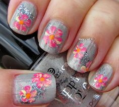Pink flowers on grey and glitter