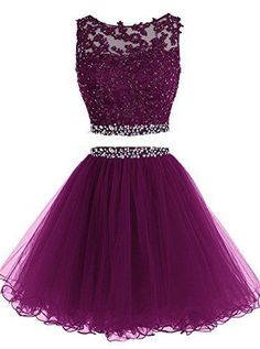 Elegant Two Piece Prom Dress, Short Tulle Purple Homecoming Dress - Homecoming Dresses - Two Piece Homecoming Dress, Prom Dresses Two Piece, Cute Prom Dresses, Tulle Prom Dress, Pretty Dresses, Beautiful Dresses, Formal Dresses, Purple Homecoming Dresses, Dance Dresses