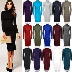 Womens Ladies Turtle Polo Neck Long Sleeve Bodycon MIDI Length Dress Sz 8 14 | eBay