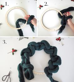 Crocheted Wreath Kit with Wool Couture step by step round 1 Dollar Tree Christmas, Christmas Wreaths To Make, Christmas Crafts, Christmas Ornaments, Wreath Crafts, Diy Wreath, Yarn Crafts, Handmade Decorations, Xmas Decorations