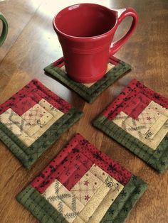 4 Quilted Log Cabin Christmas Coasters, Moda fabrics in Red, Green & Beige - #beige #cabin #christmas #coasters #fabrics #green #Log #Moda #quilted #Red