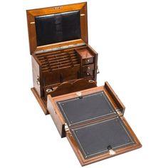 Antique Victorian Burr Walnut Writing Stationery Box, circa 1860 For Sale