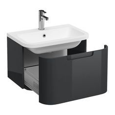 The Aqua Cabinets Compact 600mm Wall Hung Vanity Unit With Quattrocast Basin in anthracite grey will add a modern touch to your bathroom. In-stock at Victorian Plumbing.