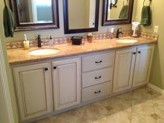 bathroom vanity refinished to an off white glazed finish walls refinished to an old world glazed finish ceiling painted black elegant and warm