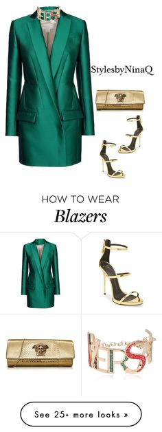 """The blazer dress"" by nina-quaranta on Polyvore featuring Antonio Berardi, Versace and Giuseppe Zanotti"