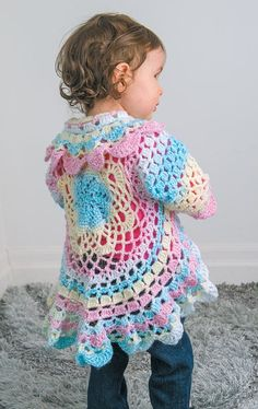 Circular Crochet Jacket Toddler Lots of free crochet patterns! Crochet Jacket, Crochet Cardigan, Knit Crochet, Crochet Granny, Crochet Toddler Sweater, Crochet Baby Cardigan Free Pattern, Crochet Circle Vest, Toddler Cardigan, Toddler Vest