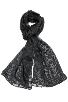 "Black leopard printed scarf.  Measures: 20"" x 68""  Leopard Printed Scarf by Violet Del Mar. Accessories - Scarves & Wraps San Diego California"