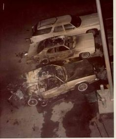 "Ariel view of Frank ""Lefty"" Rosenthal's car after it exploded severely injuring Rosenthal but NOT killing him as Tony Spilotro intended."