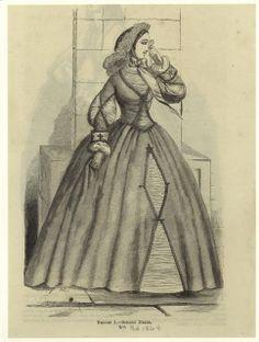 In the Swan's Shadow: Street dress. Harper's Magazine February 1864.  Civil War Era Fashion Plate