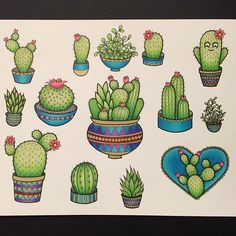 """64 Likes, 6 Comments - Cora Rountree (@lovecoratattoos) on Instagram: """"I forgot to post my cactus flash sheet! I've only tattooed one of these little guys, so hit me up…"""""""