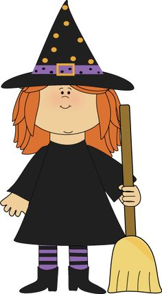 Girl Witch with Broom Clip Art - Girl Witch with Broom Image Halloween Iii, Halloween Ghosts, Halloween Cards, Holidays Halloween, Halloween Decorations, Halloween Costumes, Witch Clipart, Halloween Clipart, Manualidades Halloween