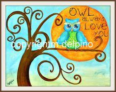 Blue Owl Always Love You blue brown owl print curly tree whimical nursery owl theme Owl Themed Nursery, Owl Nursery, Nursery Themes, Nursery Ideas, Baby Girl Dresses Diy, Owl Quilts, Owl Print, Diy Canvas Art, Always Love You