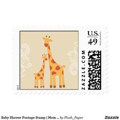Baby Shower Postage Stamp | Mom and Baby Giraffe