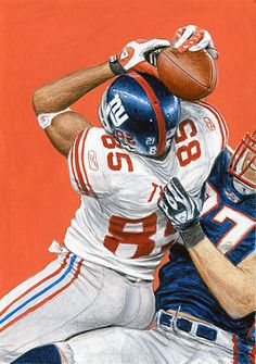 Portrait of NY Giants David Tyree with very pivotal catch ober Rodney Harrison to help propel the New York Giants  in a win over the undefeated New England Patriots in Super Bowl by artist Monty Sheldon