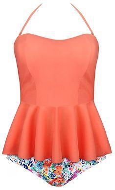 2b739f1124fb6 Women's Tankini Floral Print Ruffles Strap Tankini Two Piece Swimsuit -  Orange - C312NT0HH72