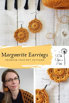 Marguerite Earrings - Premium Crochet Pattern - - - Crocheted earrings are all the rage. Marguerite is floral but sophisticated. She adds a touch of class to jeans and a sweater, or is the frosting on your night on the town outfit. Crochet Jewelry Patterns, Crochet Earrings Pattern, Crochet Bracelet, Crochet Accessories, Crochet Jewellery, Modern Crochet, Easy Crochet, Knit Crochet, Tutorial Crochet