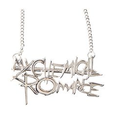 My Chemical Romance Nameplate Necklace Hot Topic ($7.87) ❤ liked on Polyvore featuring jewelry, necklaces, pendants & necklaces, metal chain necklace, chains jewelry, chain pendants and silver tone necklace