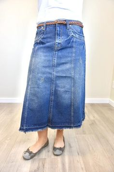 Ladies and Lavender Boutique - Modest Apparel A Line Denim Skirt, High Waisted Denim Skirt, A Line Skirts, Denim Skirts, Skirt Midi, Flare Skirt, Modest Skirts, Modest Outfits, Athletic Skirts
