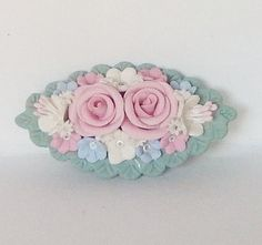 Vintage brooch  Celuloid brooch with pink by MyHighStreetBoutique