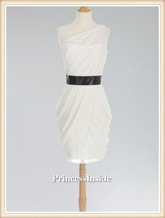Cheap A-Line white one shoulder chiffon short Bridesmaid Dress/Wedding Dress/Wedding Party on Etsy, $92.00